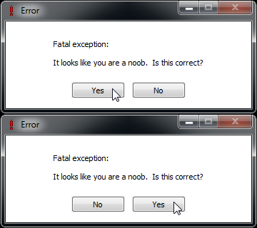 Screenshot of Insulting Error, using the default settings